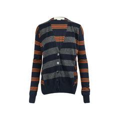 Contrast Stripe Wool Cardigan