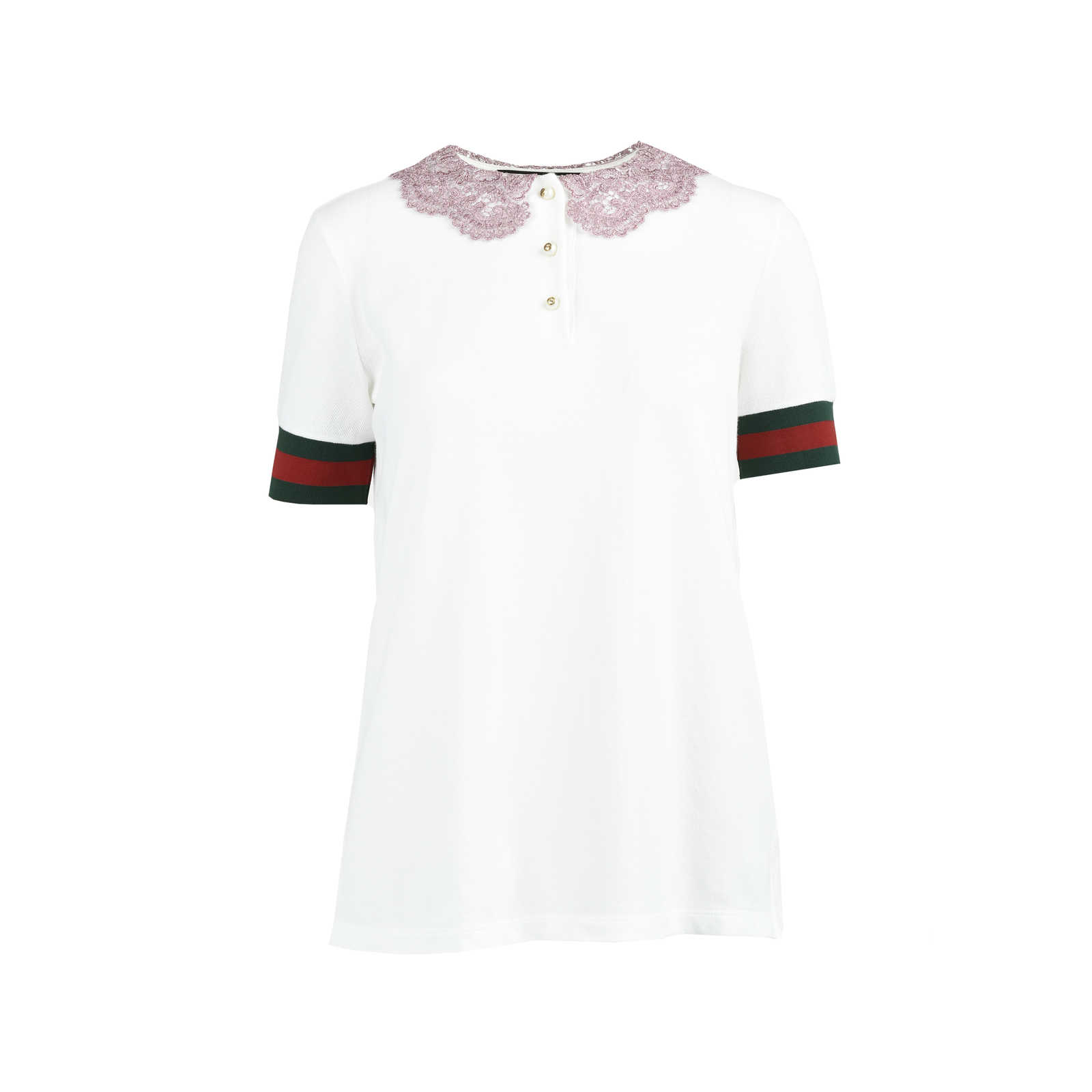2fa4ba68bee Authentic Second Hand Gucci Lace Collar Polo T-Shirt (PSS-051-00357 ...
