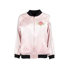 Reversible Pink Satin Varsity Bomber Jacket