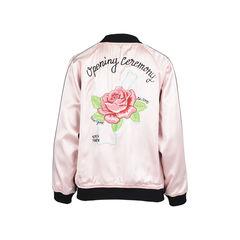 Opening ceremony reversible pink satin varsity bomber jacket 2?1528180253