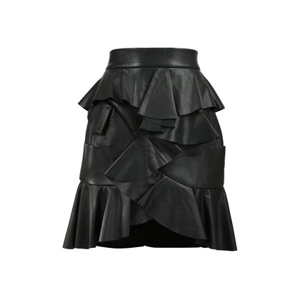 Authentic Second Hand Balmain Ruffled Leather Skirt (PSS-200-01222)