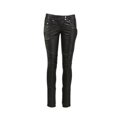 Authentic Second Hand Balmain Leather Biker Pants (PSS-200-01259)