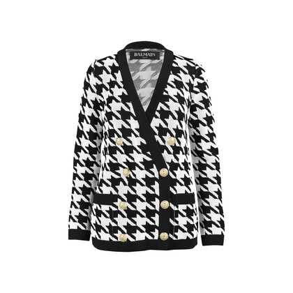 Authentic Pre Owned Balmain Houndstooth-Intarsia Knitted Jacket (PSS-200-01256)
