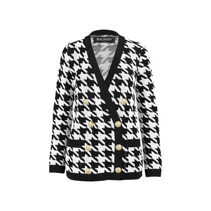Balmain Houndstooth Intarsia Knitted Jacket