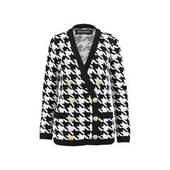 Houndstooth-Intarsia Knitted Jacket