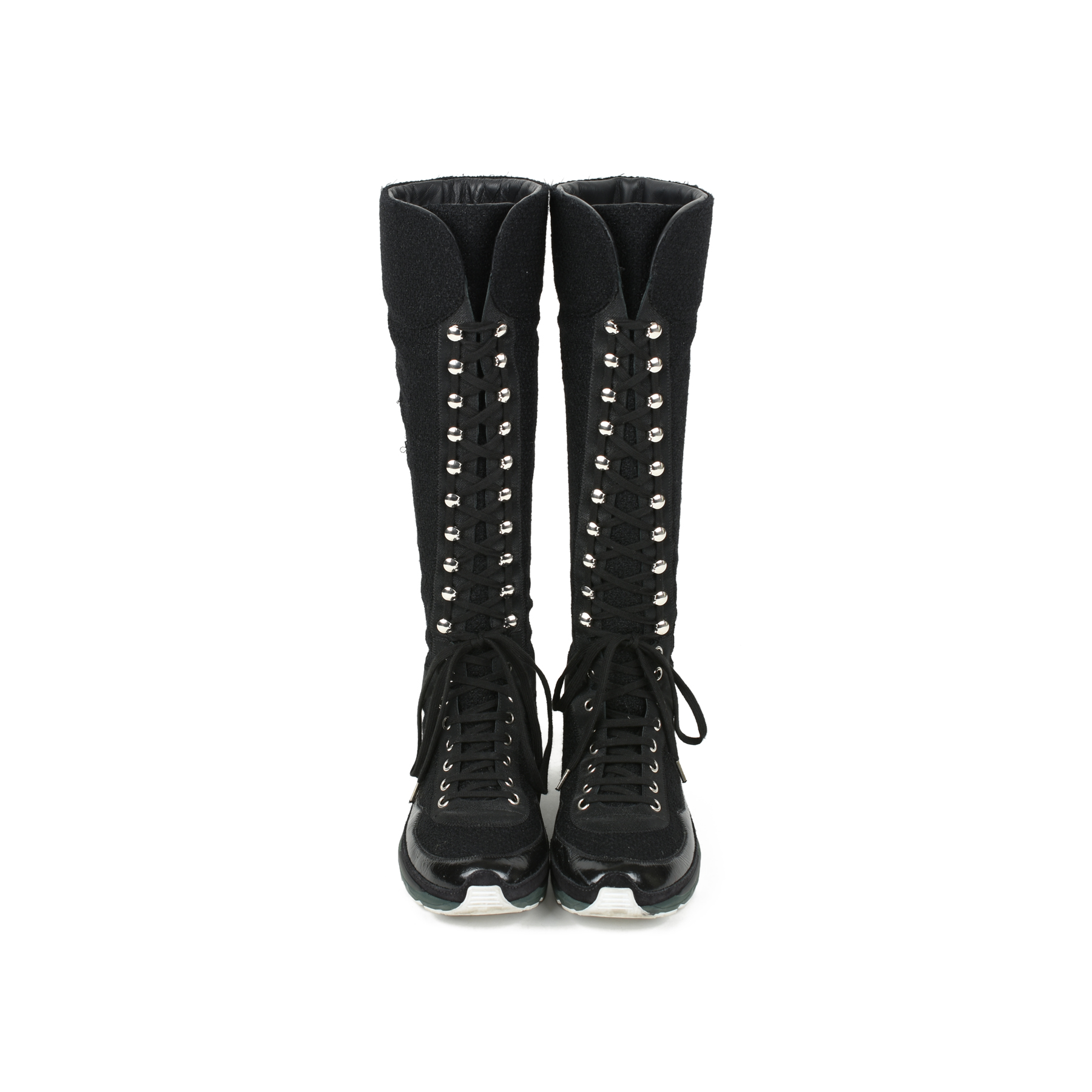 09eb4e9ef Authentic Second Hand Chanel Tweed Sneaker Boots (PSS-051-00341) - THE  FIFTH COLLECTION