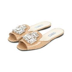 Prada embellished crocodile mule slides 2?1528345048