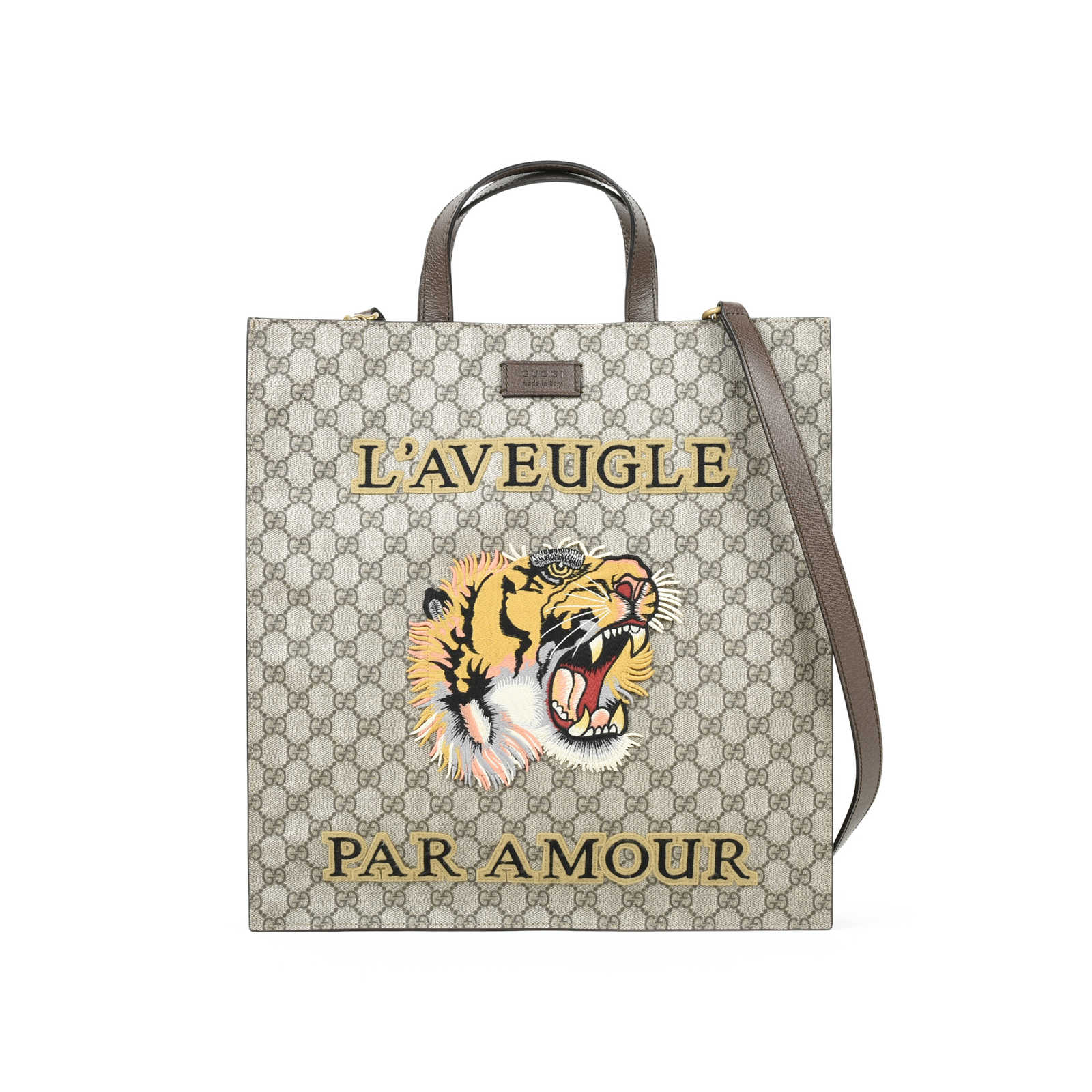 be613d7dedac49 Authentic Second Hand Gucci Tiger Embroidered GG Supreme Tote  (PSS-051-00342) ...