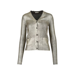 Metallic Pleat Cardigan