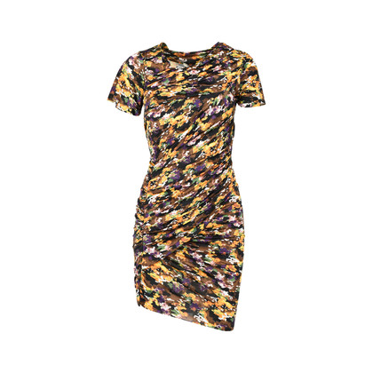 Authentic Second Hand Isabel Marant Abstract Camo-print Ruched Draped Dress (PSS-225-00034)