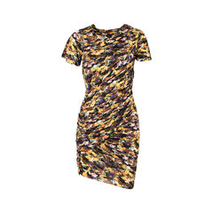 Abstract Camo-print Ruched Draped Dress