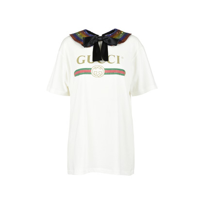 Authentic Second Hand Gucci Rainbow Logo Collar T-Shirt (PSS-051-00356)