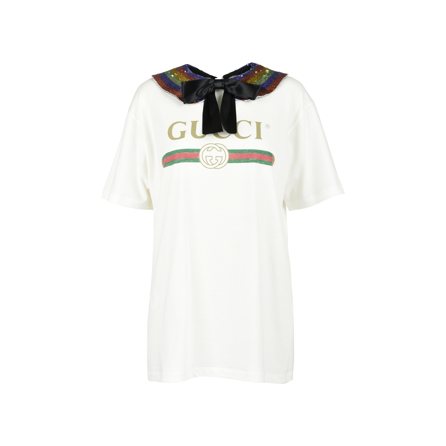 0f820f20 Authentic Second Hand Gucci Rainbow Logo Collar T-Shirt (PSS-051-00356) |  THE FIFTH COLLECTION