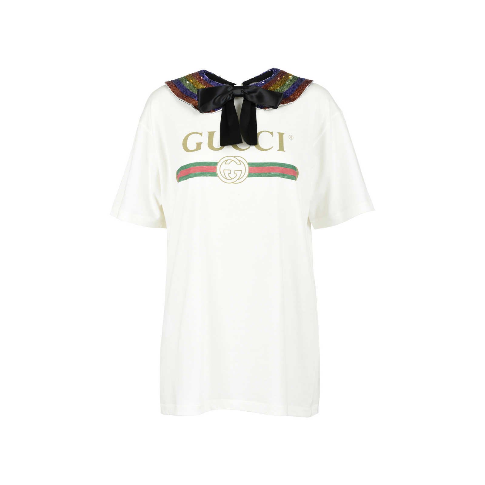 3fc33f9c5be Authentic Second Hand Gucci Rainbow Logo Collar T-Shirt (PSS-051-00356 ...