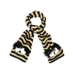 Striped Monster Fur-Trimmed Scarf