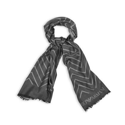 Authentic Second Hand Emporio Armani Dark Grey Chevron Scarf (PSS-200-01255)