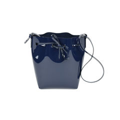 Mini patent-leather bucket bag