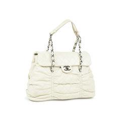Chanel ruched quilt shoulder bag white 2?1528881535