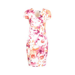 Abstract Print Keyhole Dress