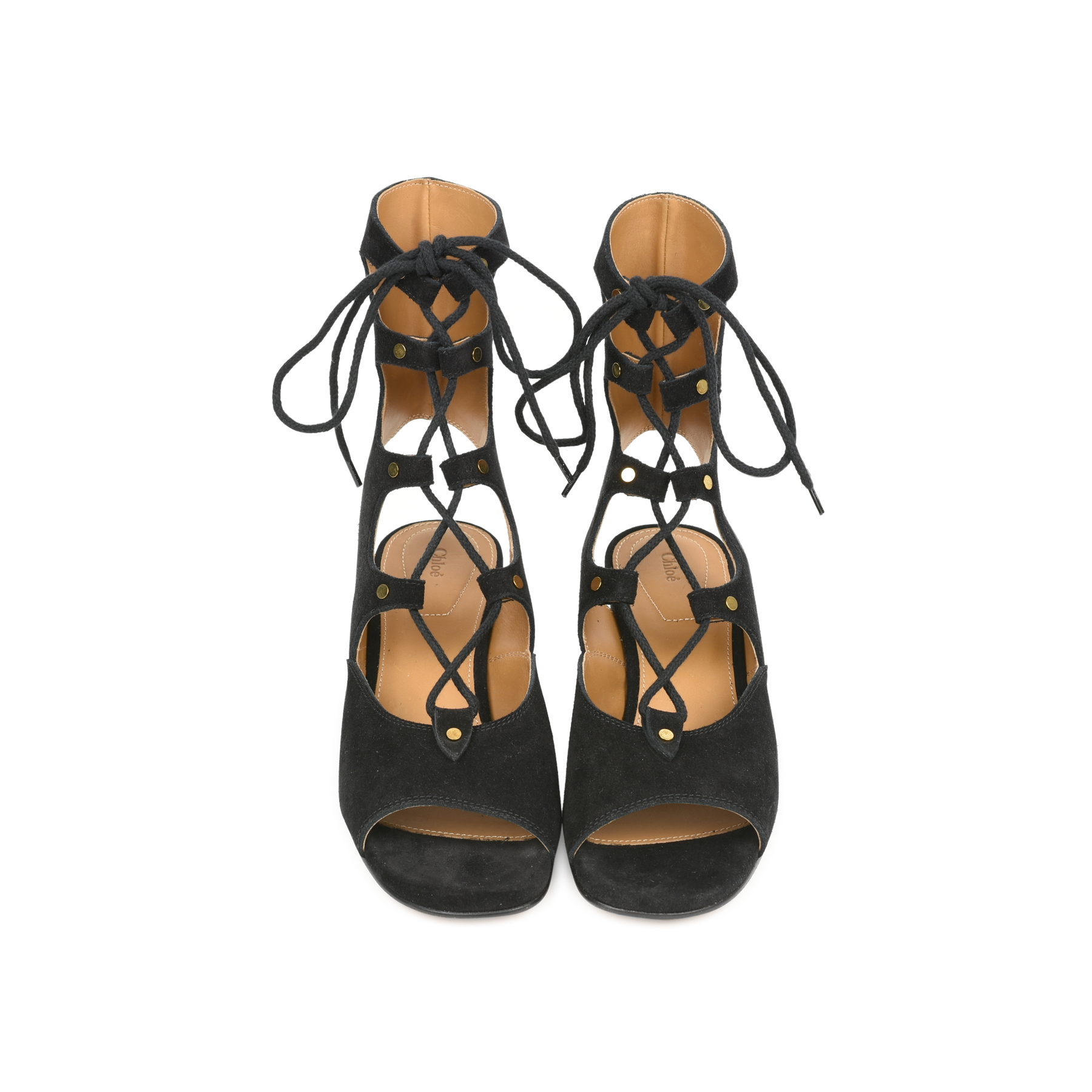 8821ca74279 Authentic Second Hand Chloé Lace up Suede Gladiator Sandals (PSS-057-00028)