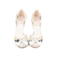 Polka Dot Mesh Ankle-Strap Pumps
