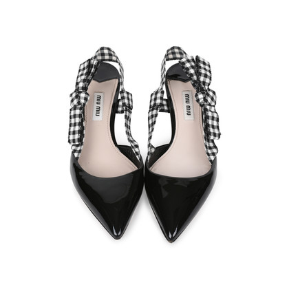 Authentic Pre Owned Miu Miu Patent and Gingham Slingbacks (PSS-200-01523)