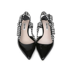 Patent and Gingham Slingbacks