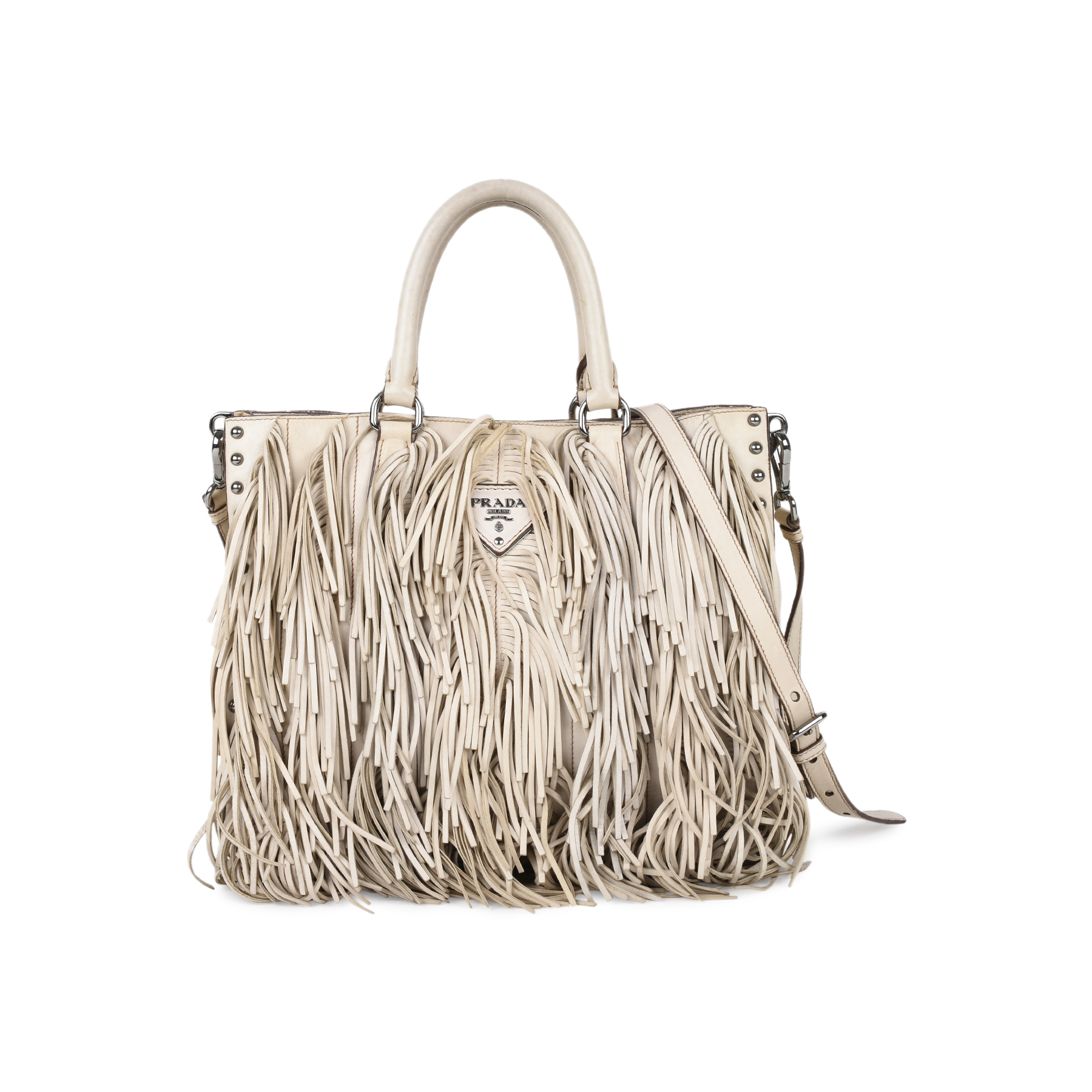 b437702abe Authentic Second Hand Prada Small Fringe Tote Bag (PSS-168-00007) - THE  FIFTH COLLECTION