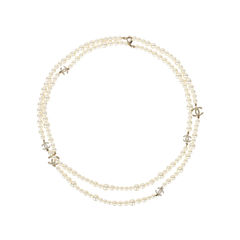 Double Strand Pearl Logo Necklace