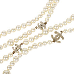 Chanel double strand pearl logo necklace 2?1531285756