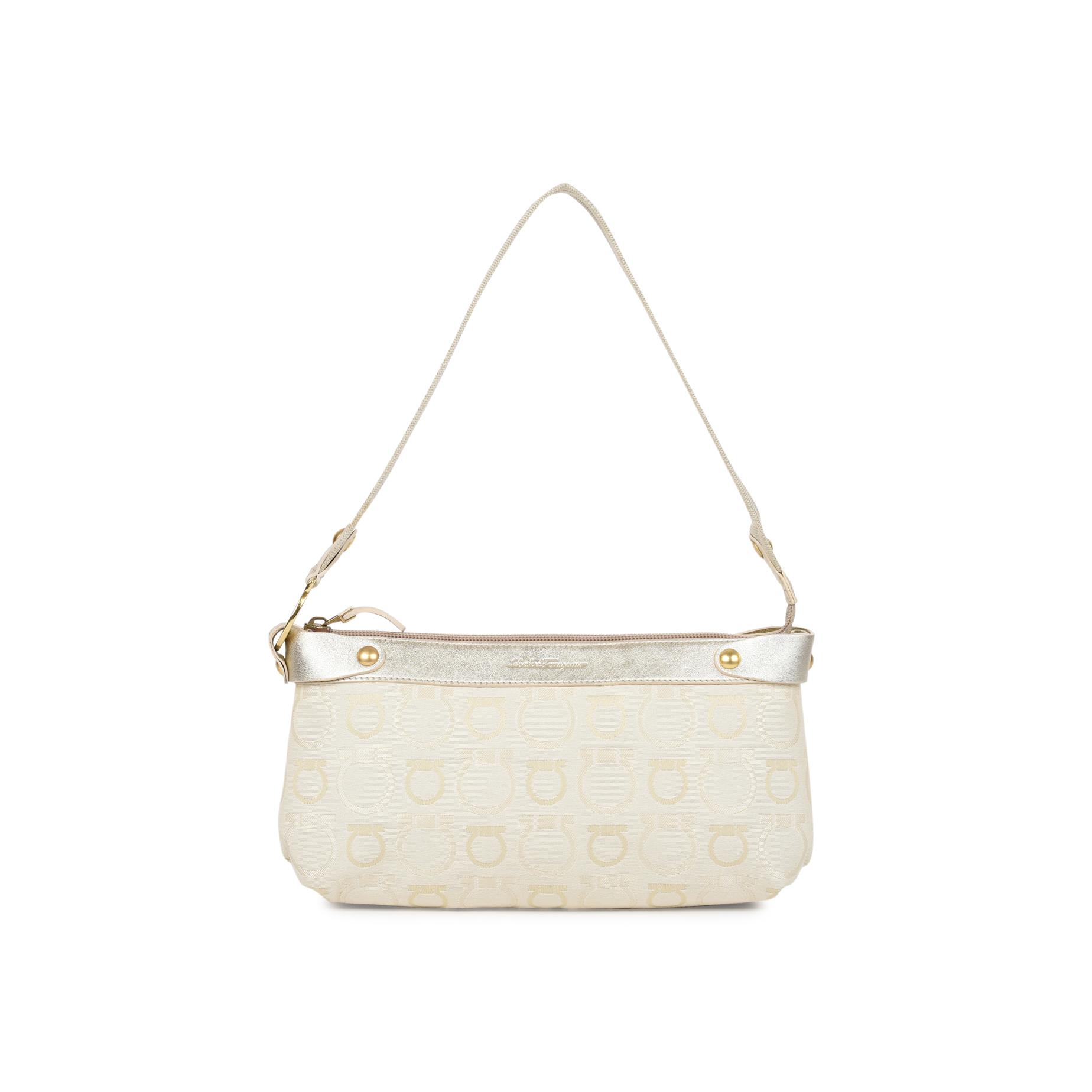 0883296296bf Authentic Second Hand Salvatore Ferragamo Magnolia Fabric Monogram Bag  (PSS-512-00002)