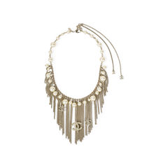 Faux Pearl Logo Fringe Necklace