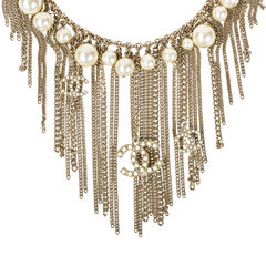 Chanel faux pearl logo fringe necklace 2?1531890716