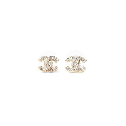 Authentic Second Hand Chanel Logo Stud Earrings (PSS-233-00033)