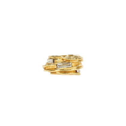 Authentic Vintage Christian Lacroix Ridged Baguette Crystal Ring (TFC-203-00026)