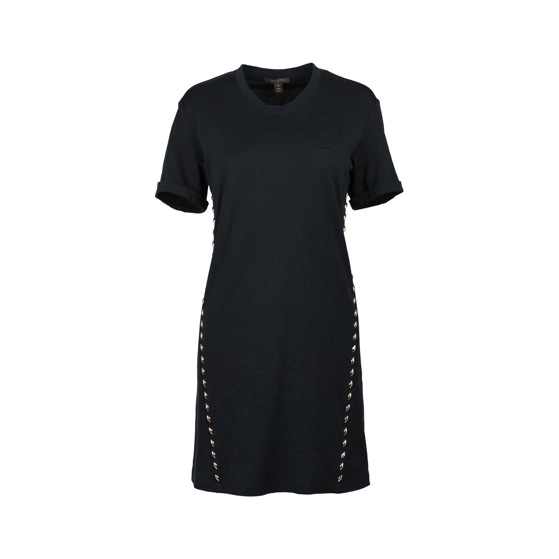 076f53c9f3bab Authentic Second Hand Louis Vuitton Black Studded T-shirt Dress  (PSS-200-01099)