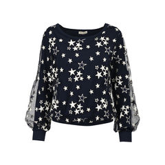 Stars Embroidered Tulle and Jersey Top