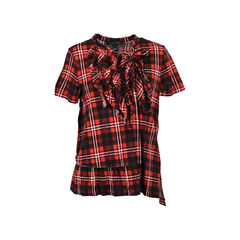 Ruffled Plaid Cotton-Jersey Top