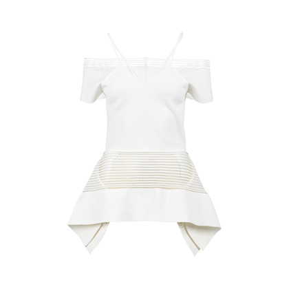 Authentic Second Hand Roland Mouret Strappy Trim Off the Shoulder Peplum Top (PSS-200-01092)