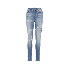 High Waist Slim Fit Ripped Jeans