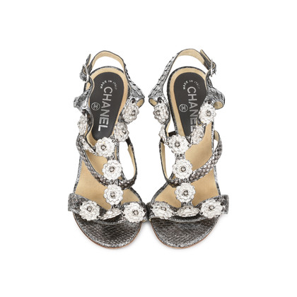 Authentic Second Hand Chanel Snakeskin Camellia Embellished Wedge Sandals (PSS-200-01130)