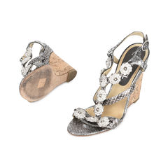 Chanel snakeskin camellia embellished wedge sandals 2?1532580067