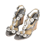Authentic Second Hand Chanel Snakeskin Camellia Embellished Wedge Sandals (PSS-200-01130) - Thumbnail 3