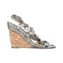 Authentic Second Hand Chanel Snakeskin Camellia Embellished Wedge Sandals (PSS-200-01130) - Thumbnail 4