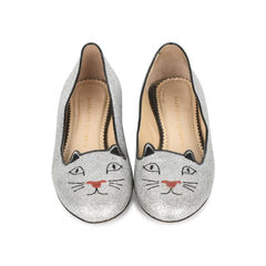 Silver Glitter Finished Kitty Flats