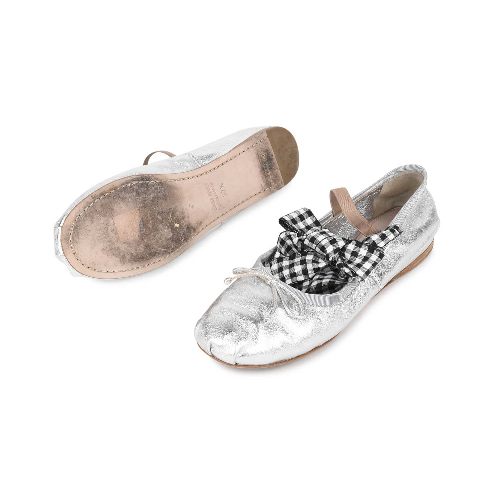 fcafaf57587 ... Authentic Second Hand Miu Miu Lace-Up Ballet Flats (PSS-200-01133 ...