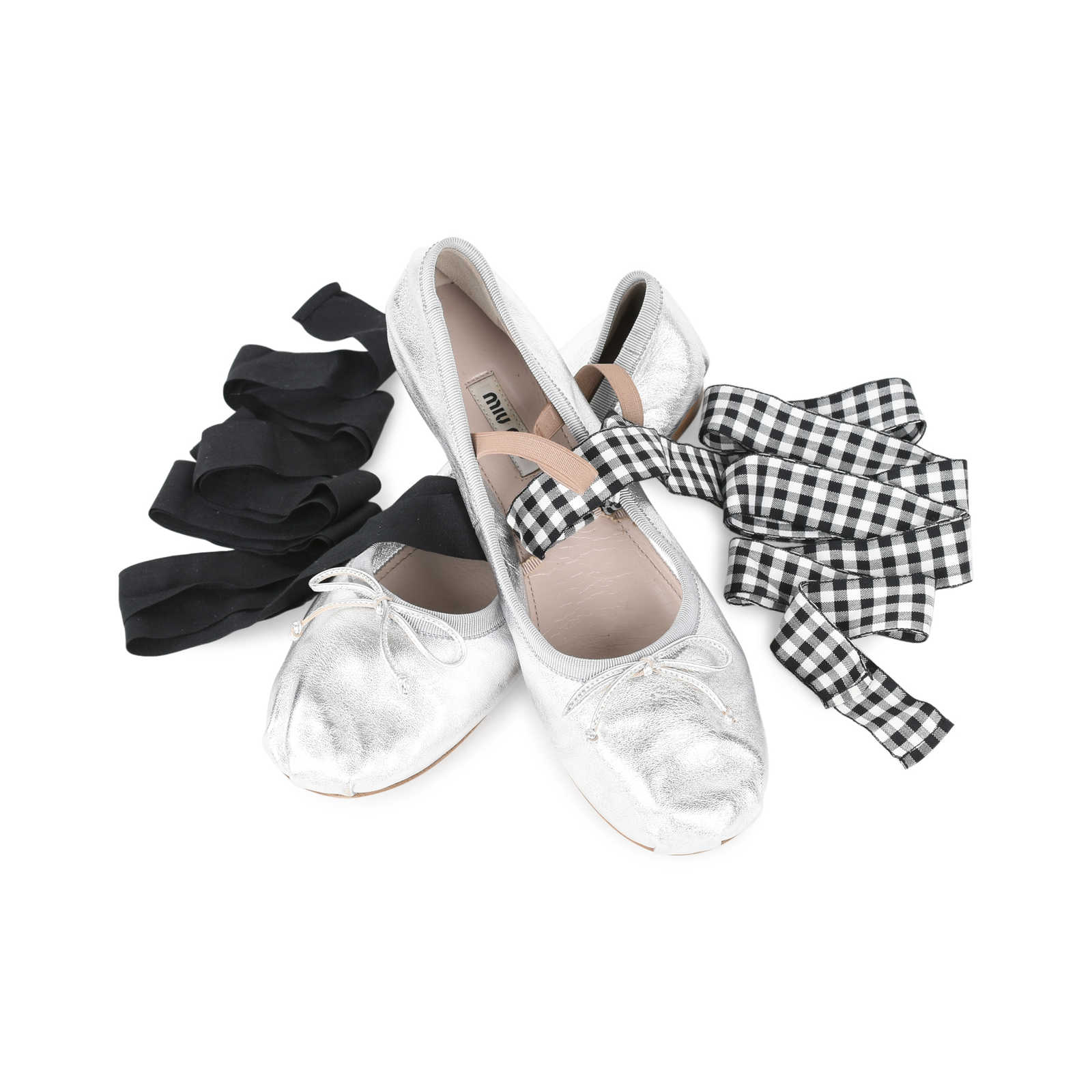 35e69881620 Authentic Second Hand Miu Miu Lace-Up Ballet Flats (PSS-200-01133 ...