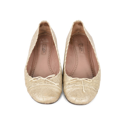 Authentic Second Hand Azzedine Alaïa Crocodile Embossed Ballet Flats (PSS-148-00036)