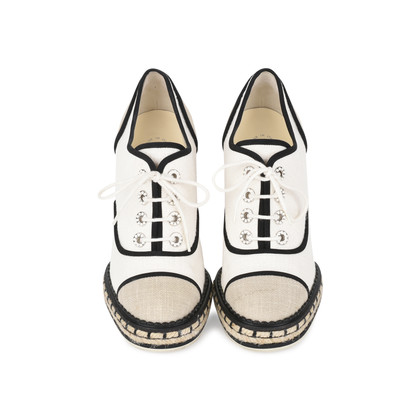 Authentic Second Hand Chanel Lace-Up Espadrille Wedges (PSS-200-01138)