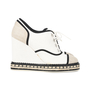 Authentic Second Hand Chanel Lace-Up Espadrille Wedges (PSS-200-01138) - Thumbnail 1